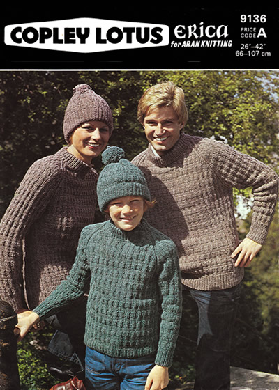 7e55b5ab7630 Description  Family aran-weight or worsted sports sweaters in broken rib  pattern.