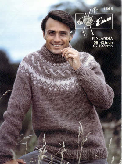 9b4337b2ea239 Pattern ID  Emu 4868 Wool brand  Finlandia. Yarn quantity  DK  15-17 (50g  balls) plus 2 contrast. Sizes  to fit 38 - 42 inch chest Wool weight   Chunky ...