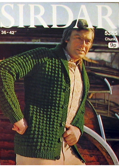 Vintage Patterns Chunky Mans Shawl Collar Cardigan