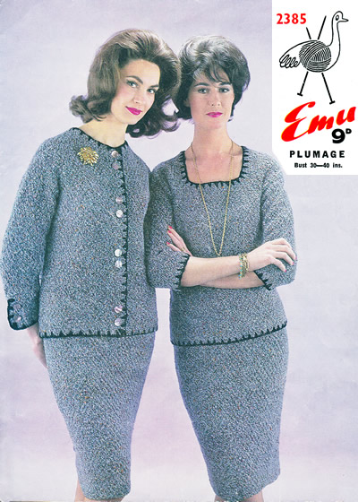 6c4a18d6d6d Pattern ID  Emu 2385. Wool brand  Plumage Yarn quantity  Jacket  9-12 (2 oz  balls)  Jumper  8-12 balls   Skirt  7-9 balls. Sizes  30-40 inch chest (6  sizes)