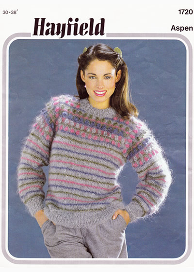Vintage Patterns  Jacquard sweater with stripes and bobbles 0c5a74931a