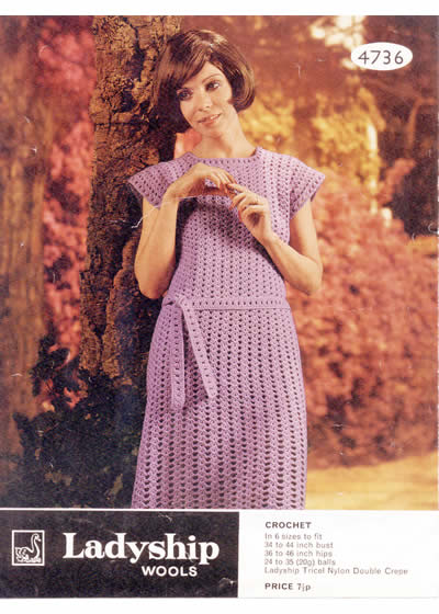 Vintage Patterns Shell Crochet Shift Dress With Cap Sleeve