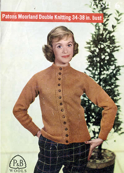 Vintage Patterns Sixties Plain Golf Cardigan With Cable Trim
