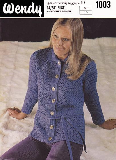 b69a339e5 Description  Crochet cardigan with collar and tie belt.